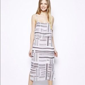 ASOS tiered layered linear stripe midi dress